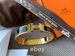 Classic Hermes H Clic Clac Bracelet PHW GOLD BLACK Enamel PM Narrow Bangle