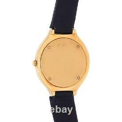 Corum Vintage 18k Yellow Gold Leather Quartz Diamond Red Enamel Watch 24.115.65