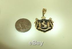 Custom 30mm 14k Yellow Gold Kingdom Of Hawaii Coat Of Arms Black Enamel Pendant