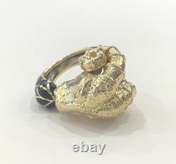 David Webb 18K Yellow Gold & Black Enamel Ram Head Ring