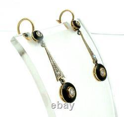 Delicate Art Deco 18k Gold with Diamonds & Black Enamel Earrings