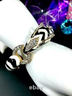 Delightful Ciner Gold-tone Black White Enamel Rhinestone Zebra Cuff Bracelet
