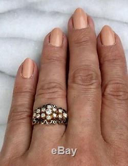 Diamond 14K Yellow Gold Diamond Black Enamel Fleur-De-Lis Scrolls Signed Ring