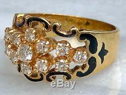 Diamond Cluster 14K Yellow Gold Black Enamel Scrolls Vintage Designer Retro Ring