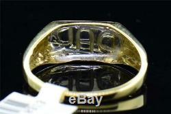 Diamond DAD Pinky Ring Men's 10K Yellow Gold Round Fashion Black Enamel Band