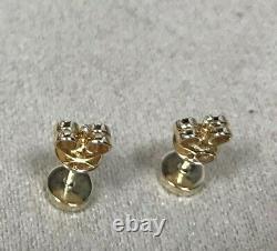 EF Collection 14K Yellow Gold Black Enamel & Diamond Bezel Stud Earrings =. 08CTW