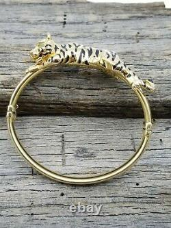ESTATE 14k Gold Italy 3D Black Enamel Tiger Emerald Eyes Bangle Bracelet B