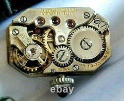 Early Swiss 18K Lady's Deco Enamel Wrist Watch 15J Mvt. Wire Lugs, Ca. 1920's