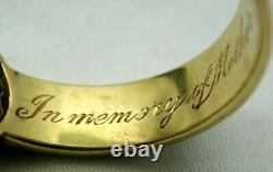 Edwardian 18 Carat Gold Lemon Diamond And Black Enamel Mourning Ring Size R