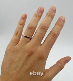 Estate 14K Yellow Gold Black Enamel Stacking Mourning Ring Band Size 5.5