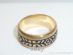 Estate 14k Gold Wedding Band Ring 1970s Greek Key With Black Enamel