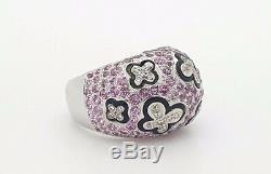 Estate 18k White Gold Round Diamond Pink Sapphire Black Enameled Butterfly Ring