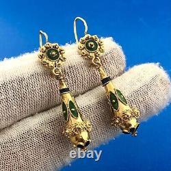 Estate 22K Yellow Gold Black Green Enamel Beaded Filigree Drop Dangle Earrings