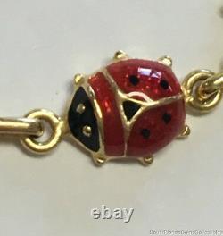Estate Jewelry Black & Red Enamel Ladybird Bracelet 14K Yellow Gold 7 Long