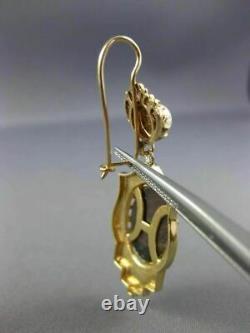 Estate Large Cameo Black Enamel & Pearl 14k Yellow Gold Victorian Earrings 25733