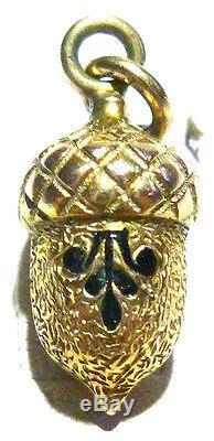 Estate Rare Victorian Black Enamel 3d 10k Gold Estate Acorn Nut Charm