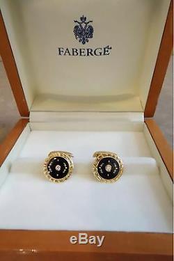 FABERGE 18k Yellow Gold Diamond Black Enamel Cufflinks Fine Jewellery F2324 NEW