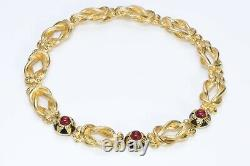 FENDI Gold Plated Black Enamel Red Cabochon Glass Collar Necklace