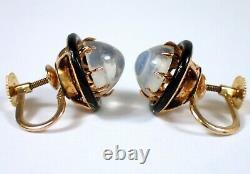 FINE Antique Victorian 14k Yellow Gold 8mm MOONSTONE Black Enamel Screw Earrings