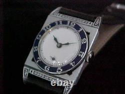 Fantastic Art Deco Blue Enamel Bezel Piping Rock Style Vintage 1930s Wristwatch