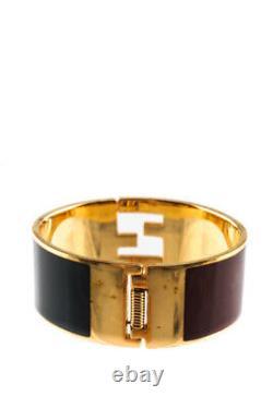 Fendi Womens Enamel Fendista Cuff Bracelet Gold Tone Black Red