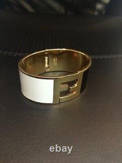 Fendi Womens Enamel Fendista Cuff Bracelet Gold Tone Black White