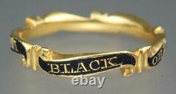 Fine Antique Georgian 22K Gold Enamel Mourning Ring SUSANNA BLACK 1768 Box 8.25