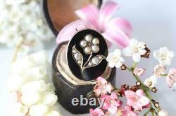 Fine Antique Victorian 14ct Gold Seed Pearl Black Enamel Mourning Charm/Pendant