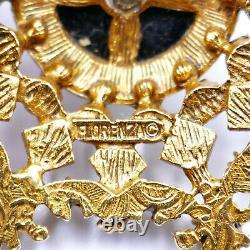 Florenza 7 Point Star Pin Brooch 2 Rhinestones Pearls Black Enamel Gold Vintage