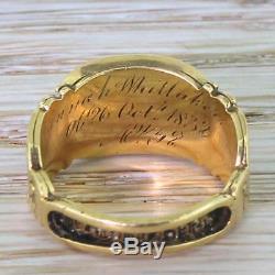 GEORGIAN GARNET & BLACK ENAMEL MOURNING RING 18k Gold dated 1832