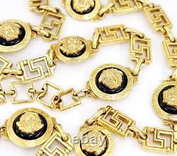 GIANNI VERSACE Medusa Black Enamel Necklace / Belt 37 inch long Gold Tone v1612