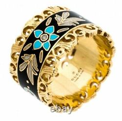 GUCCI ICON Blooms Band Ring 18ct Gold with Black Enamel RRP £1840