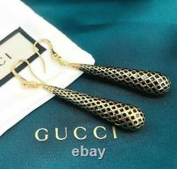 GUCCI Italian Made 18K Yellow Gold Diamantissima Black Enamel Drop Earrings