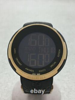 GUCCI Quartz Watch Digital Enamel Black I-Gucci Grammy 49mm Used JAPAN