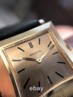 Gents/Unisex Boucheron 1950s 18K Pink Gold RARE Automatic Tank Gold Enamel Dial