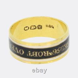 Georgian 1800s Memorial Black and White Enamel Pair Of Mourning Rings 18ct Gold