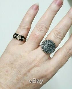 Georgian 1813 18ct Gold Ring Black Enamel & Pearl Mourning Hair Panels Size P