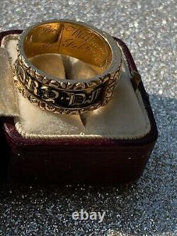 Georgian 18ct Yellow Gold Wide Locket Front Blacks Enamel Band Ring