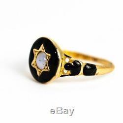 Georgian Black Enamel and Pearl 18 Carat Gold Locket Back Mourning Ring