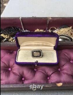 Georgian Gold In Memory of Mourning Brooch Black Enamel Pearl