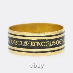 Georgian Gold Ring 1806 Memorial Black Enamel Mourning Ring 18ct Yellow Gold