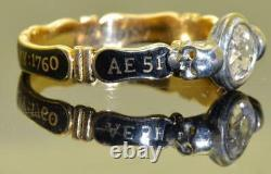 Georgian Memento Mori/Mourning Skulls 18k Gold, Diamond & black enamel ring c1760