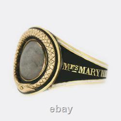 Georgian Mourning Ring Black Enamel Snake Ring 15ct Yellow Gold Perfect Condit