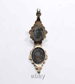 Georgian Ornate Gold Black Enamel Locket Pendant 15kt Yellow Gold