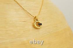 Givenchy Signed Vintage Pendant Necklace Logo G Black Enamel Gold 80s Rare BinP