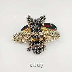 Gucci Black/Gold Crystal Bee Bracelet withTiger Head and GRG Elastic Band 515833