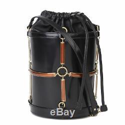 Gucci Black Vinyl, Lambskin & Rust Enamel Bucket Bag Hb3223