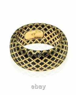 Gucci Diamantissima 18k Yellow Gold And Black Enamel Ring Sz 8 YBC284722002017