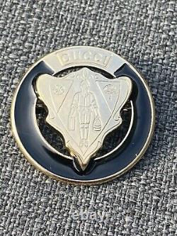 Gucci Gold Plated And Black Enamel Brooch From The Jacket