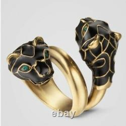 Gucci Tiger Head Ring Black Enamel Crystal 10 NWOT Dustbag, Gift Box Gold Auth